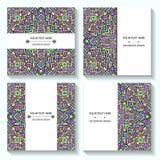 Vastgestelde malplaatjesadreskaartjes en uitnodigingen met etnische patronen Collectieve stijl voor uw document Royalty-vrije Stock Fotografie