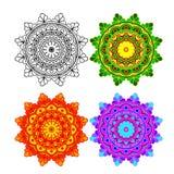 Vastgestelde mandala verschillende kleur Stock Foto