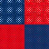 Vastgestelde Marineblauwe Rode Sterpolka Dots Background Stock Foto
