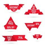 Vastgestelde markeringen met linten en etiketten Royalty-vrije Stock Afbeeldingen
