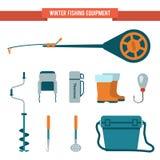 Vastgestelde materiaal vlakke stijl voor de winter die op ijs vissen Royalty-vrije Stock Fotografie