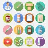 Vastgestelde medische pictogrammen Stock Afbeelding
