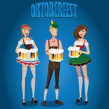 Vastgestelde mensen in Oktoberfest Stock Afbeeldingen