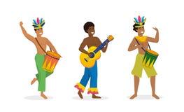 Vastgestelde mensendansers en musicus met trommel en gitaar royalty-vrije illustratie