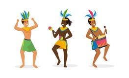 Vastgestelde mensendansers en musicus met trommel en maracas vector illustratie