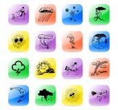 Vastgestelde meteo van het pictogram Stock Afbeeldingen