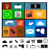 Vastgestelde moderne Webpictogrammen voor mobiel Stock Foto's