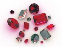 Vastgestelde mooie turkooise en rode halfedelstenen Royalty-vrije Stock Foto's