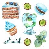 Vastgestelde muntsnoepjes Cake, suikergoed, roomijs en makaron Royalty-vrije Stock Afbeelding