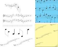 Vastgestelde muzieknota's en symbolen Stock Foto's