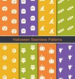 Vastgestelde Naadloze Abstracte Patronen met Halloween Stock Afbeeldingen
