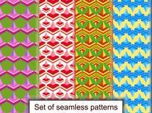 Vastgestelde naadloze patronen van geometrische 3D vormen Voor ontwerp, wallpa Stock Afbeelding