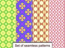 Vastgestelde naadloze patronen van geometrische 3D vormen Voor ontwerp, wallpa Royalty-vrije Stock Afbeelding