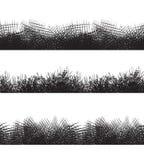 Vastgestelde naadloze zwart-witte grenzen met potloodslagen Royalty-vrije Stock Afbeelding