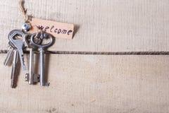 Vastgestelde od assorteerde verschillende sleutels op houten achtergrond Royalty-vrije Stock Afbeeldingen