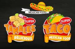 Vastgestelde od traditionele Mexicaanse voedselemblemen, emblemen Stock Afbeelding