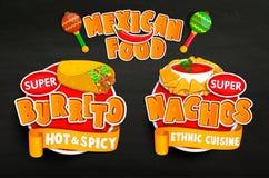 Vastgestelde od traditionele Mexicaanse voedselemblemen, stickers Royalty-vrije Stock Afbeeldingen