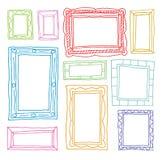Vastgestelde omlijstingen, hand getrokken vectorillustratie Stock Afbeeldingen