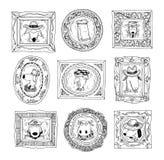 Vastgestelde omlijstingen met dierenportret, hand getrokken vectorillustratie Stock Fotografie