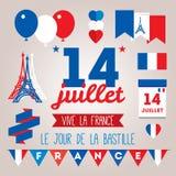 Vastgestelde ontwerpelementen voor Bastille Dag 14 juli stock illustratie