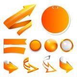 Vastgestelde oranje pijlen, etiketten en stickers, knopen Stock Fotografie