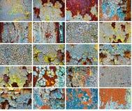Vastgestelde oude abstracte achtergronden van de gebarsten verf Stock Fotografie