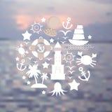 Vastgestelde overzeese pictogrammen op zeegezichtachtergrond Vector Stock Afbeelding