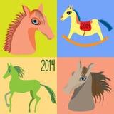 Vastgestelde Paarden, jaar van het paard, stuk speelgoed paardschommelstoel voor kinderen Vector Royalty-vrije Stock Afbeelding