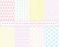 Vastgestelde pastelkleur naadloze patronen Zachte, eenvoudige, beknopte patronen Pastelkleuren, roze, blauw, geel patroon Royalty-vrije Stock Afbeeldingen