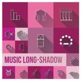 Vastgestelde pictogram van het muziek het Vlakke thema vector illustratie