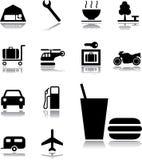 Vastgestelde pictogrammen - 131. De pictogrammen van het vervoer Royalty-vrije Stock Afbeeldingen