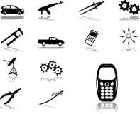 Vastgestelde pictogrammen - 132. Machines en technologieën Royalty-vrije Stock Afbeeldingen