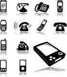 Vastgestelde pictogrammen - 134. Telefoons Royalty-vrije Stock Foto's