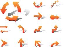 Vastgestelde pictogrammen - 4A. Pijlen Royalty-vrije Stock Afbeeldingen