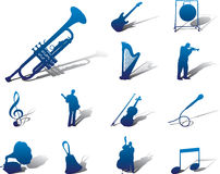 Vastgestelde pictogrammen - 72A. Muziek Stock Afbeelding