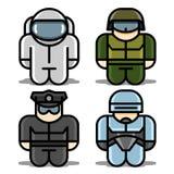 Vastgestelde pictogrammen. Astronaut, Robot, Militair, Politieagent. Stock Fotografie