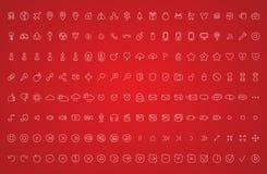 Vastgestelde pictogrammen getrokken stijl Royalty-vrije Stock Foto's