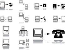 Vastgestelde pictogrammen. Het netwerk van de computer Stock Afbeeldingen