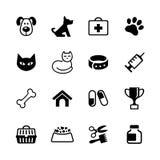 Vastgestelde pictogrammen - huisdieren, dierenartskliniek, diergeneeskunde Stock Foto