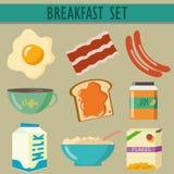Vastgestelde pictogrammen met ontbijt Royalty-vrije Stock Foto's