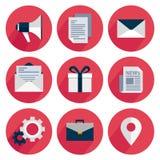 Vastgestelde pictogrammen met schaduw op een rode achtergrond Royalty-vrije Stock Foto's