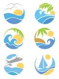 Vastgestelde pictogrammen -- reis & vakantie Stock Afbeeldingen