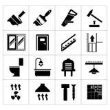 Vastgestelde pictogrammen reparatie en de bouw Royalty-vrije Stock Foto