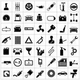 Vastgestelde pictogrammen van auto, autodelen, reparatie en de dienst royalty-vrije illustratie