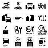 Vastgestelde pictogrammen van auto, autodelen, reparatie en de dienst Stock Foto's