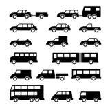 Vastgestelde pictogrammen van auto en bus Royalty-vrije Stock Afbeeldingen