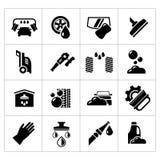 Vastgestelde pictogrammen van autowasserette Stock Foto's