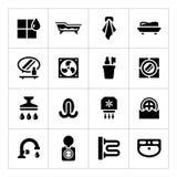 Vastgestelde pictogrammen van badkamers Stock Foto