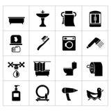 Vastgestelde pictogrammen van badkamers en toilet Royalty-vrije Stock Foto
