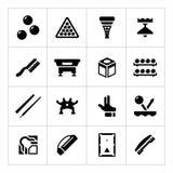 Vastgestelde pictogrammen van biljart, snooker en pool Stock Foto's